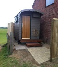 Shepherd's Hut shower